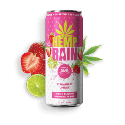 HEMP RAIN™ Strawberry Limeade Lightly Flavored Sparkling CBD Water