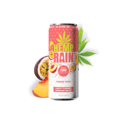 HEMP RAIN™ Peach Passion Lightly Flavored Sparkling CBD Water