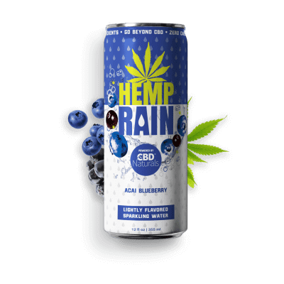 HEMP RAIN™ Acai Blueberry Lightly Flavored Sparkling CBD Water
